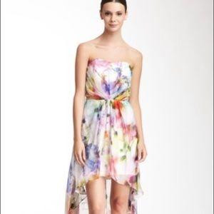Alexia Admor Silk Watercolor Hi-Lo Dress